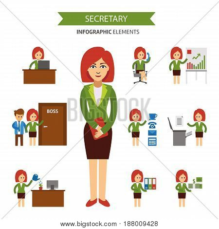 Secretary at work infographic elements. Business woman working in the office, a presentation, talking on the phone, meet with the staff, working at computer, receives a salary vector flat illustration