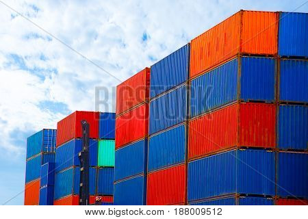 Container on blue sky import export goods.