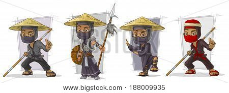 Cartoon masked ninja warriors in hat with spear character vector set