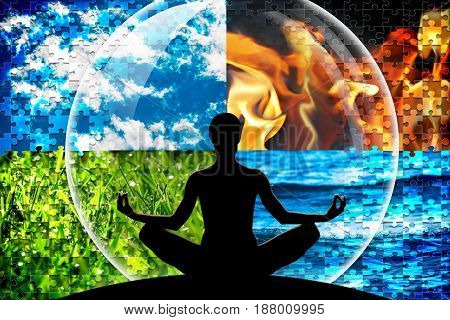 Female yoga figure in a circle composed of four puzzle cut natural elements (water fire earth air) as a concept for open mind inner power serene.