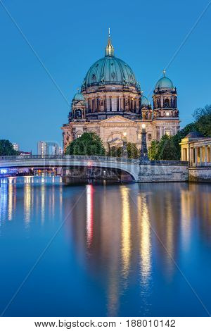 The Berliner Dom and the river Spree at night