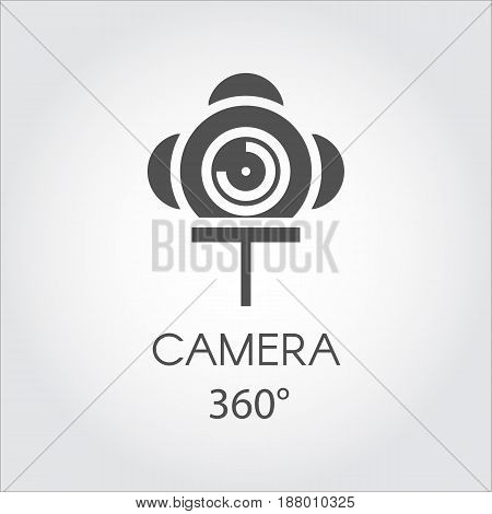 Black flat line icon of camera 360 degree. Concept of virtual panorama view. Label drawn in flat design on a gray background. Vector illustration. Logo for your design needs