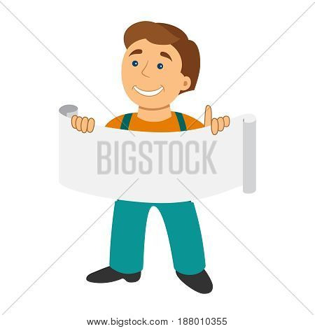 Worker Man With Banner In Cartoon Flat Style Isolated On White