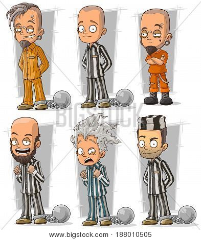 Cartoon funny prisoners in robe with metal chains character vector set