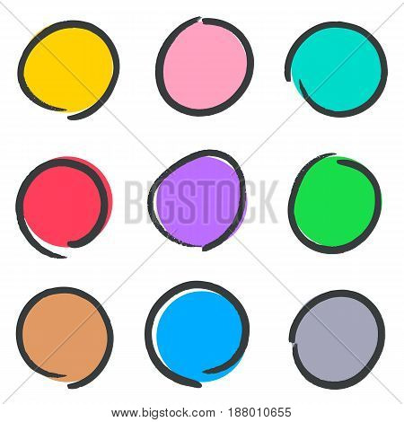 Creative hand drawn web buttons collection vector illustration