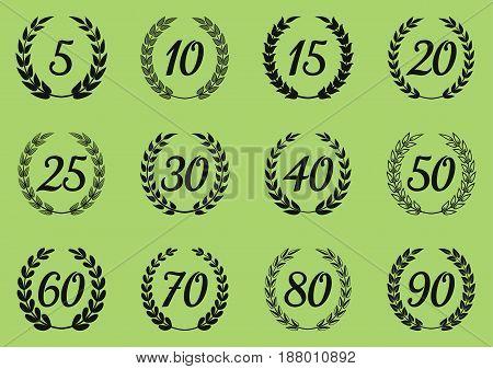 Vector laurel wreaths symbols anniversary or jubilee design