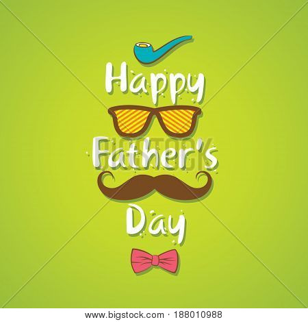 creative happy fathers day design with cigar goggles mustache and bow tie