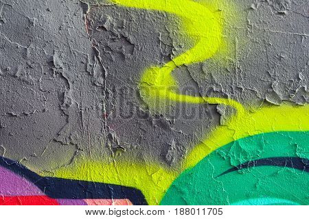 Abstract cracked and peeled green, grey, yellow paints, old damaged wall. Part of plastered, grunge, vintage, aged facade. Colorful abstract textured background with space for copy text.