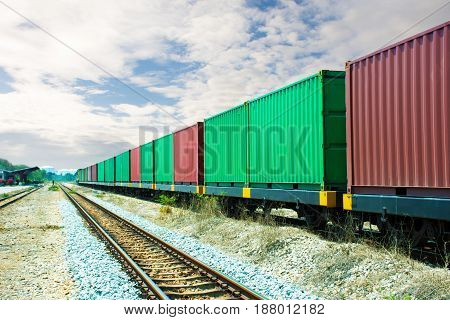 train with container & goods go to dock.