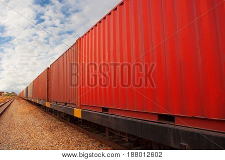 train with container for shipping goods import export box.