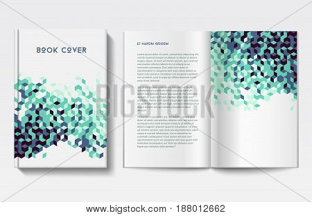 Vector geometric book cover and pages, abstract triangle design in green colors, modern graphic style