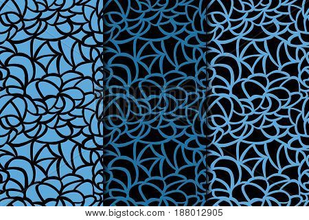 Abstract colored seamless pattern. Black and blue fabric print. Vector illustration