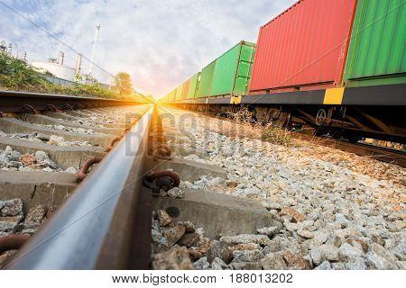 train with container shipping goods import export goods.