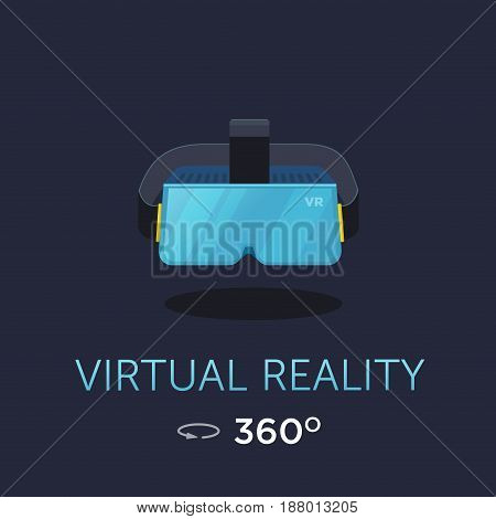 VR headset icon. Virtual reality glass. Vector poster. Flat style design.