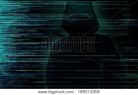 Hacker over a screen with digital code interface around. Internet crime concept