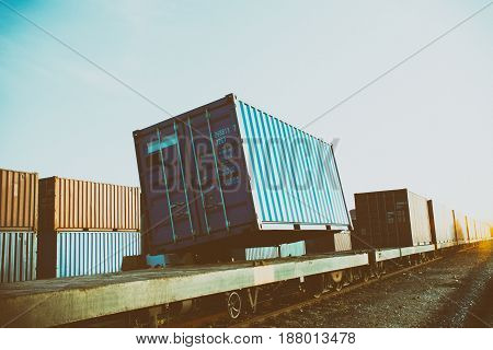train with container & forklift load big box.
