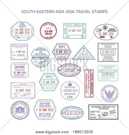 Vector South Eastern Asia Color Travel Visa Stamps Set