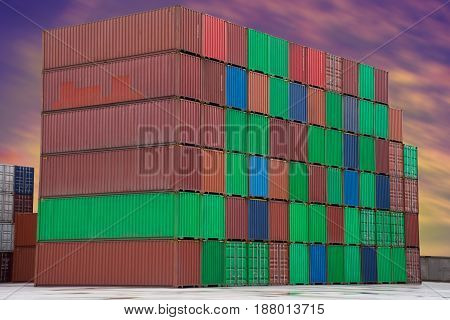 container on sun set sky import export.
