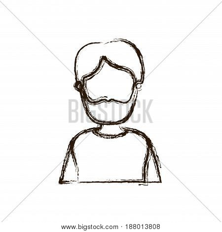 blurred thick silhouette caricature faceless half body man with moustache and beard vector illustration