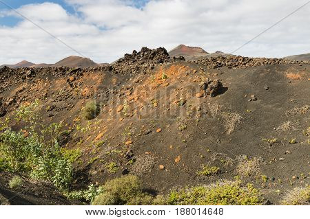 Montana De Las Lapas Crater, Lanzarote, Spain