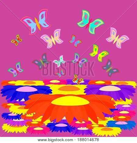 multicolored butterflies over a field of colorful flowers