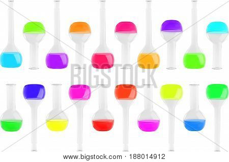 Test-tubes Of Different Shapes With Multi-colored Liquids Isolated On White Background. Medicine, Ch