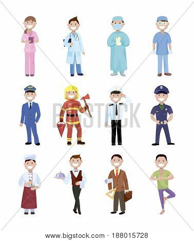 People and professions. Colored vector characters on white background