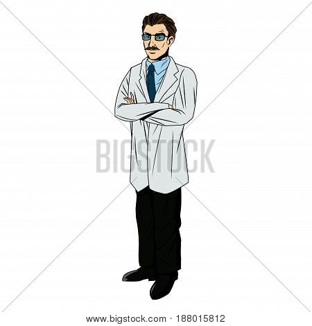 medical doctor physician with glsses and stethoscope vector illustration