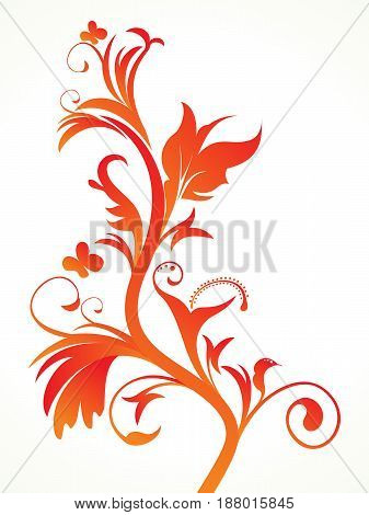abstract artistic detailed orange floral vector illustration