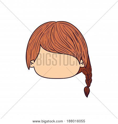 colorful caricature faceless front view cute girl with side braid hairstyle vector illustration