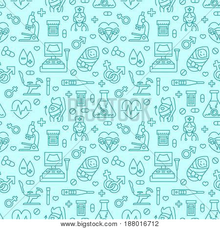 Medical seamless pattern, gynecology vector background blue color. Obstetrics, pregnancy line icons - ultrasound, gynecological chair, in vitro fertilization. Cute repeated illustration for hospital.