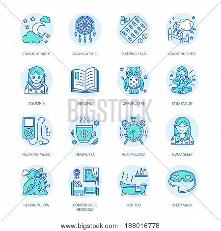 Modern vector line icon of insomnia problem and healthy sleep. Clock, pillow, pills, dream catcher, counting sheep. Linear pictogram with editable stroke for sites, medical brochure.