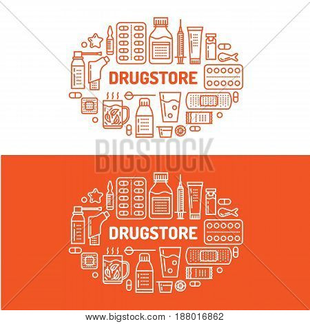 Medical, drugstore banner illustration. Pharmacy vector line icons tablet, capsules, pills, antibiotics vitamins and other medicines. Healthcare brochure, poster design red color.