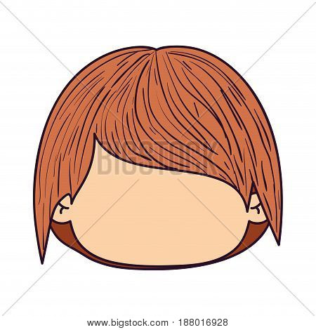 colorful caricature faceless front view guy with long straight hair vector illustration