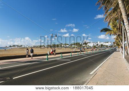 Lanzarote Beach And Road, Spain, Editorial