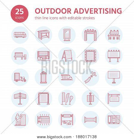 Outdoor advertising, commercial and marketing flat line icons. Billboard, street signboard, transit ads, posters banner and other promotion design element. Trade objects thin linear sign.