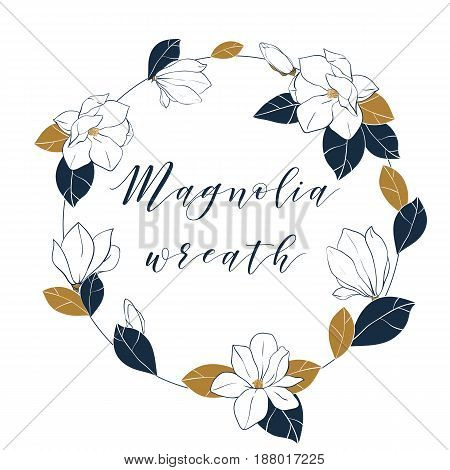 Graphic magnolia wreath in deep blue and bronze colors. Vector hand draw illustartion with magnolia flowersbuds and leaves.
