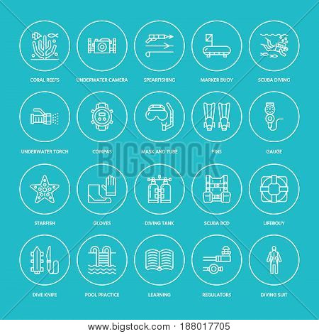 Scuba diving, snorkeling line icons. Spearfishing equipment - mask tube, flippers, swim suit, diver. Water sport, summer activity thin linear signs.