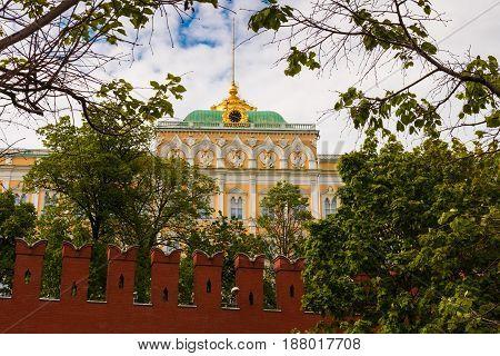 Great Kremlin Palace Behind The Wall Of The Kremlin.