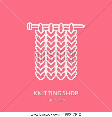 Knit shop line logo. Yarn store flat sign, illustration of knitting needles with yarn pattern.