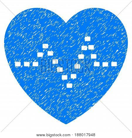 Grunge Dotted Heart Pulse icon with grunge design and dust texture. Unclean vector blue pictogram for rubber seal stamp imitations and watermarks. Draft sticker symbol.