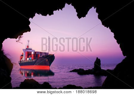 ship with container look through cave import export box.
