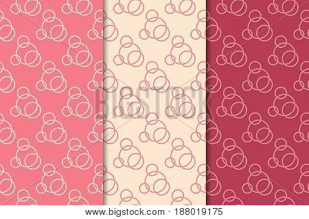 Geometric seamless pattern. Red background with circle elements. Vector illustration