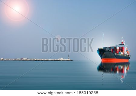 ship with container run into dock import export.