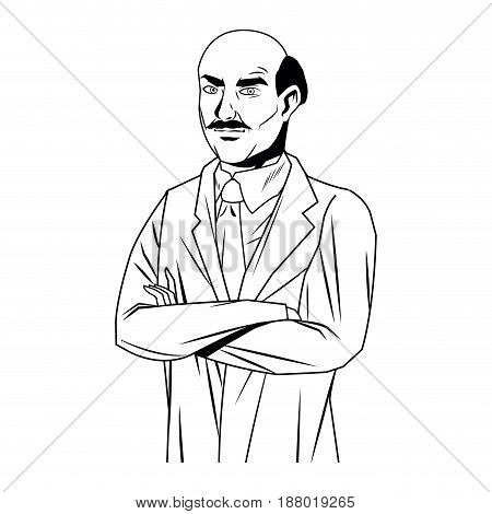 doctor male bald coat tie clothes medical vector illustration