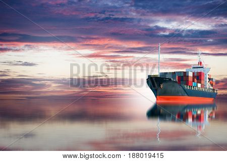 ship with container after sun set .