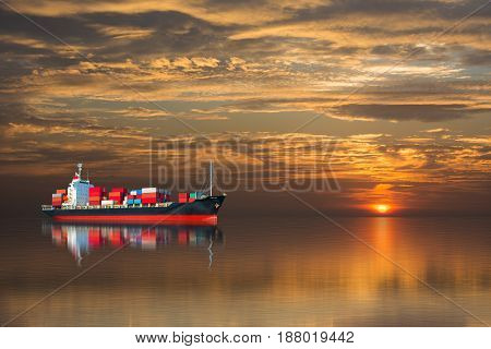 ship with container on sunset import export goods.