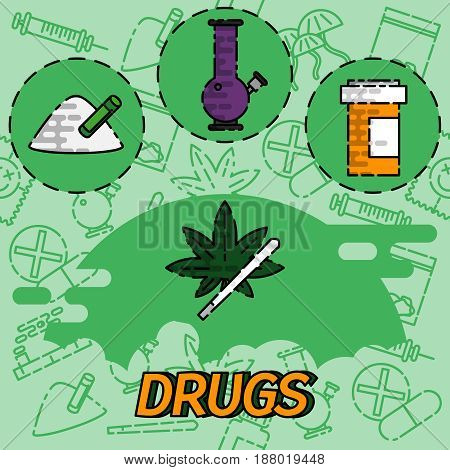 Drugs flat concept icons. Marijuana narcotic, addiction and capsule, smoke pipe, tablet pharmacy, vector illustration
