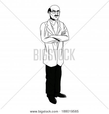mature medical male doctor with arms folded vector illustration