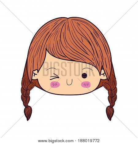 colorful caricature kawaii face little girl with braided hair and facial expression wink eye vector illustration